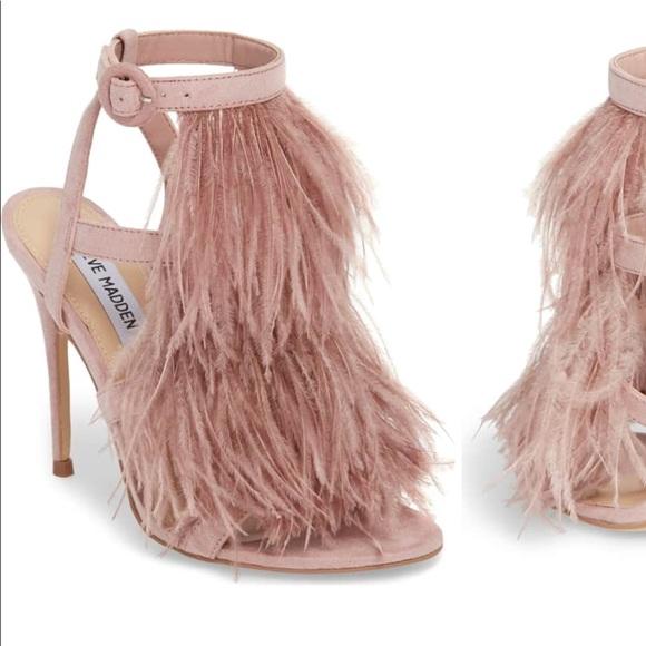 50e23f61a6d Steve Madden Fefe Feather Sandal Heels size 7. M 5ba03328aa5719297015a099